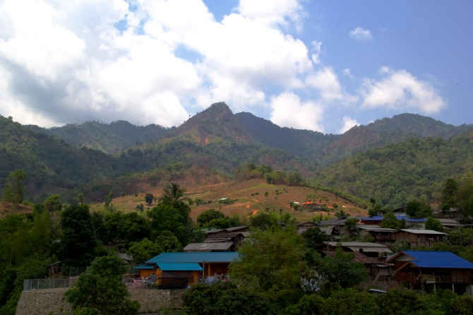 Pai Mountains and village.