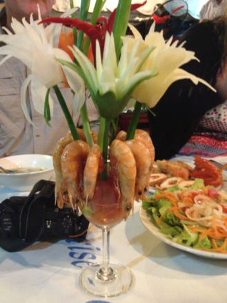 Prawns and Fruit Flowers
