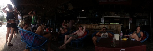 Probably the best way to explain the vibe of Sihanoukville is with this panorama of a beach bar.
