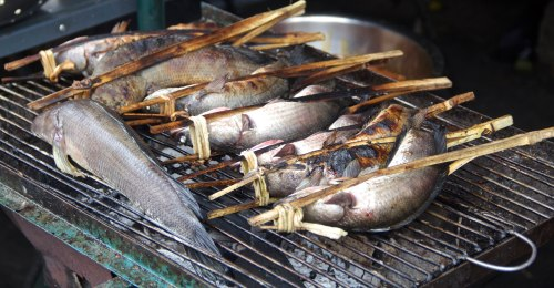 For a country that has a small coast relative to its size, I found some amazing fish everywhere I went.  $6 red snapper grilled right on the beach, to these being grilled over embers early in the morning.