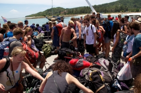 As you get off the ferry across islands, this is what you are greeted with as you try to find your bag.