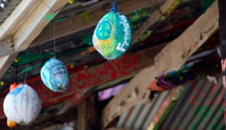 The bar had painted coconuts hanging all around its exterior