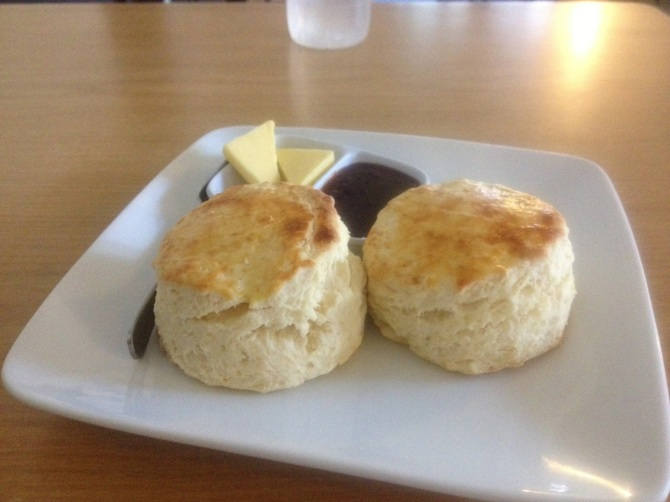 Guest House in The Cameron Highlands made fresh scones.  They look like biscuits to me.  Ironically if you said that to a British person they would say that they don't look like biscuits at all.  English is a funny language sometimes.