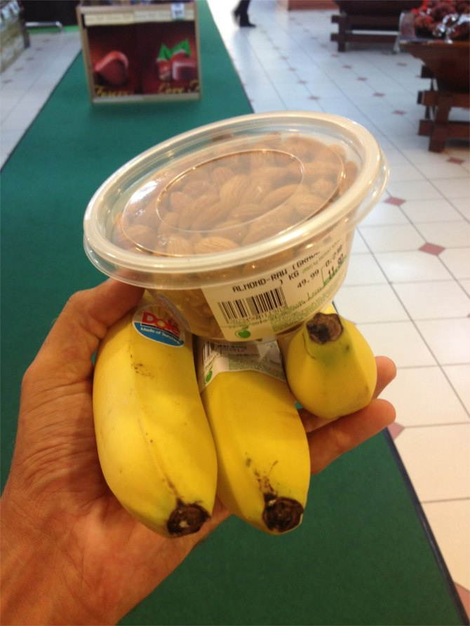 Possibly the highlight of Malaysia right here.  Raw almonds and fresh bananas (not the mini ones).