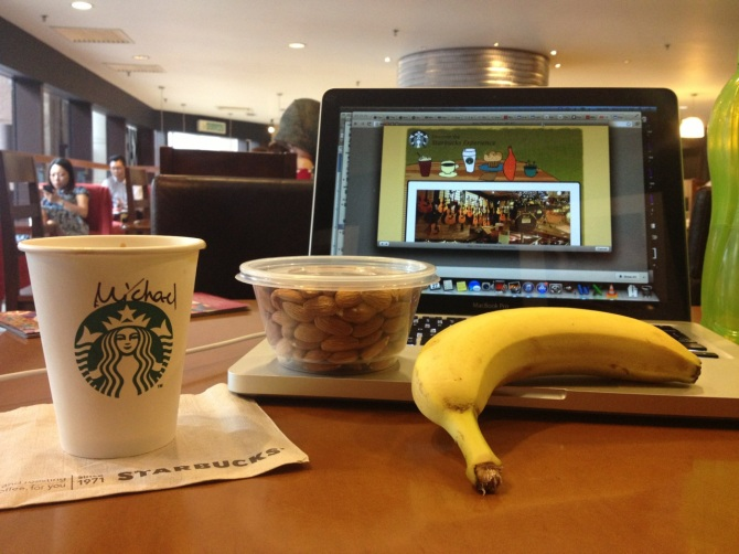 Starbucks.  Bananas.  Almonds.  Double Espresso.  Internet.  Malaysia wins!